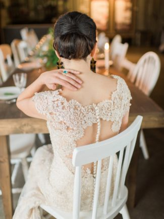 seated styled bride's back