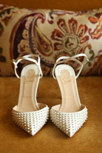 spike stud white bridal heels