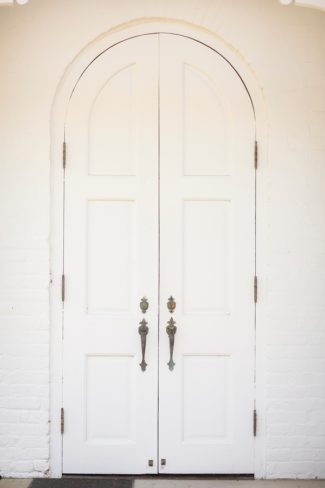 white church doors