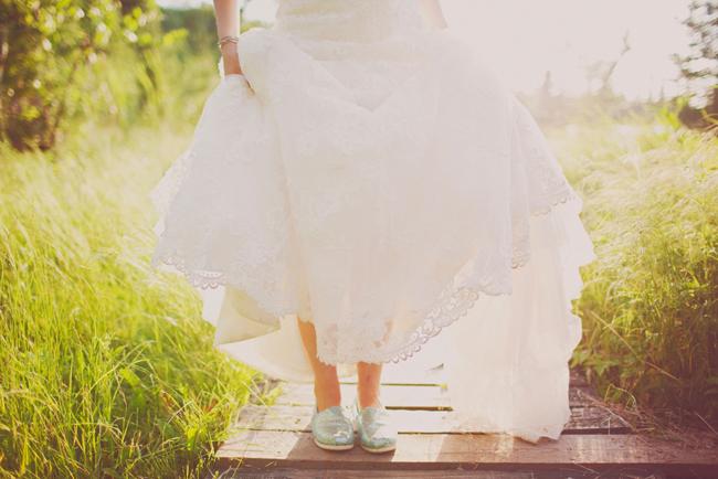 Bride wearing sparkle Toms flats