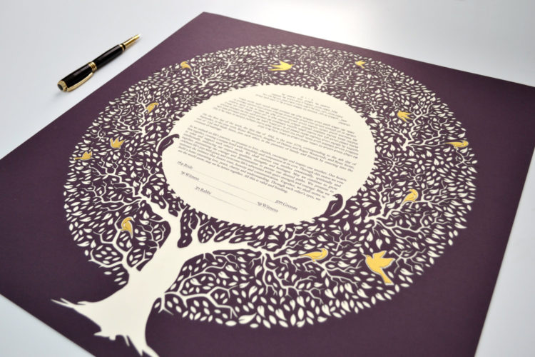 Ketubah tree design with golden leaves and birds
