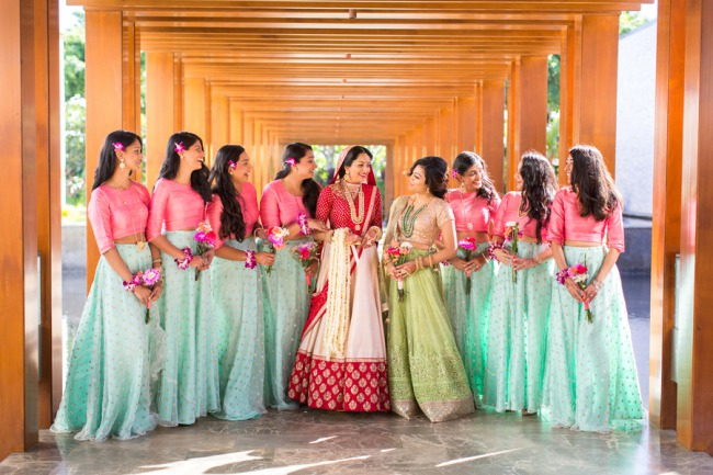 Indian wedding bridesmaids in a row