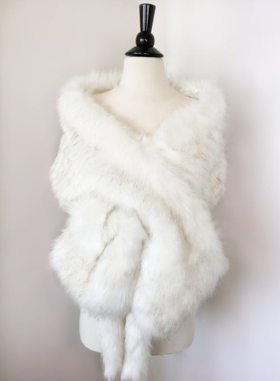 Ivory with black tips faux fur bridal wrap