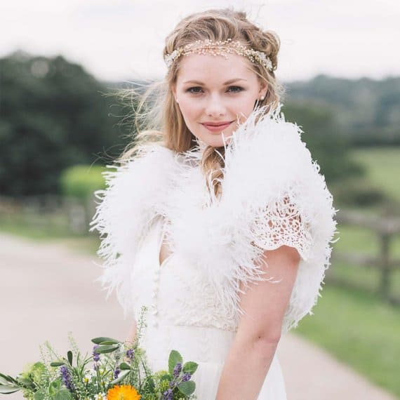 Luxury ostrich feather bridal bolero