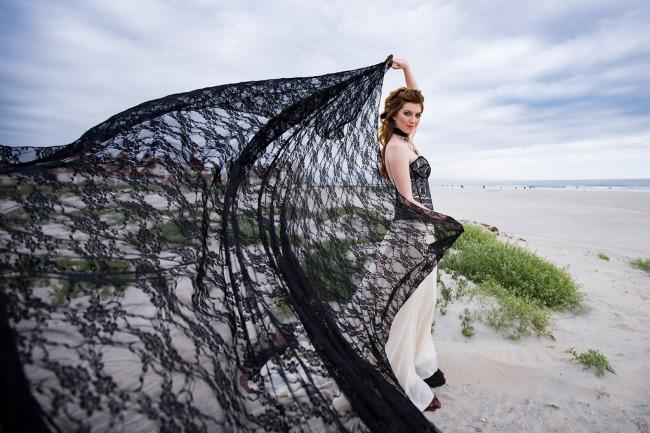 black veil in the wind