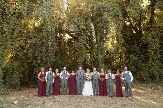 bridal party in a row