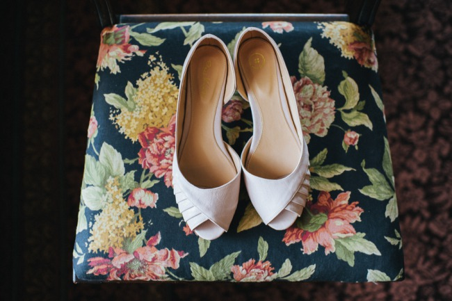 bridal shoes on chair