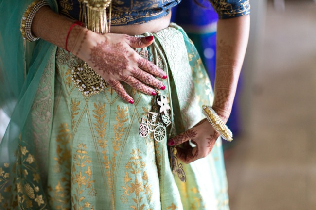 bride with traditional dress adornments