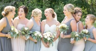 bridesmaids in different tones of dresses
