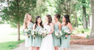bridesmaids in light sage dresses