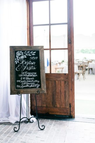 chalkboard sign on metal easel