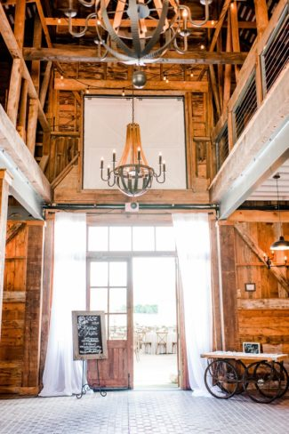 chandeliers in barn