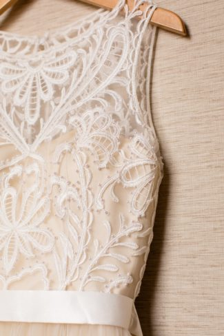 closeup of bridal dress