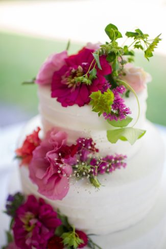 closeup of flowers on cake