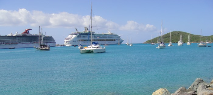 cruiseship docked in caribbean
