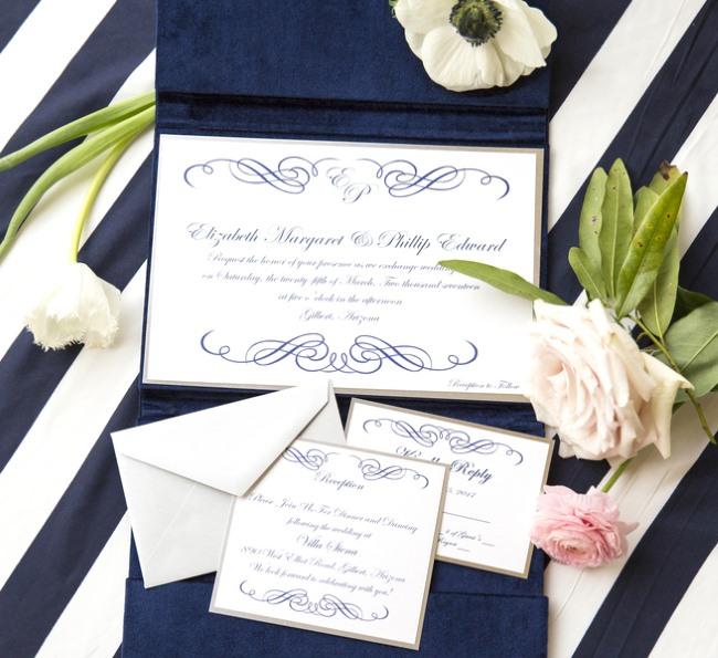 deep navy calligraphy invite suite