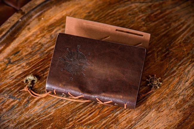 embossed brown leather wallet