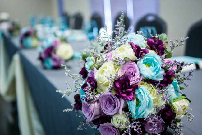 floral arrangements on table