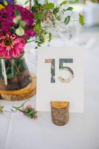 floral pattern table number 15 in wood block