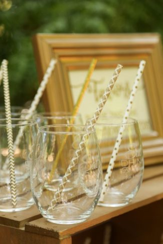 frosted stemless glasses with straw