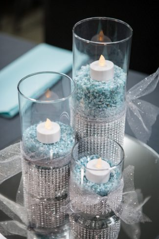 glass cylinders with flameless candles