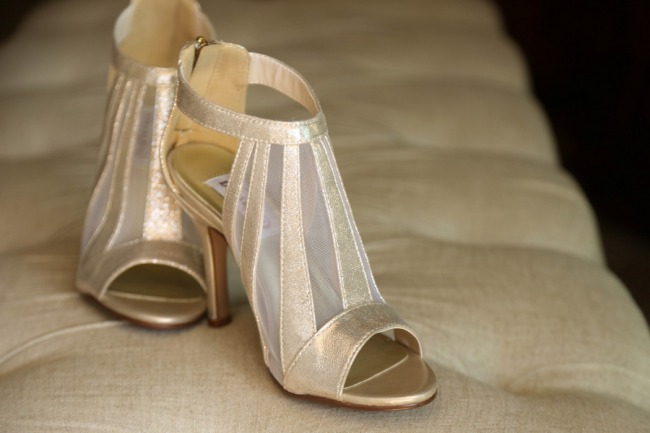 gold high heels with tulle