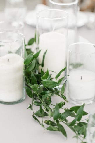 greenery and candle decor