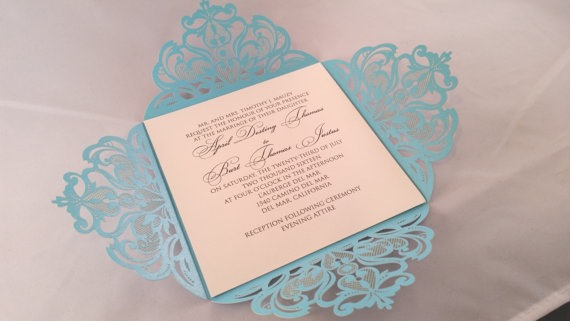 laser cut tiffany blue invite