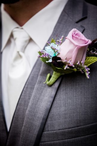 light violet flower boutonniere