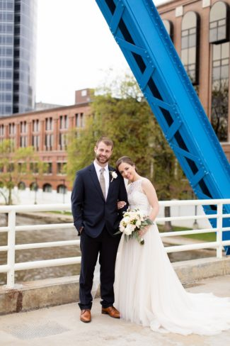 newlyweds on Grand Rapids bridge