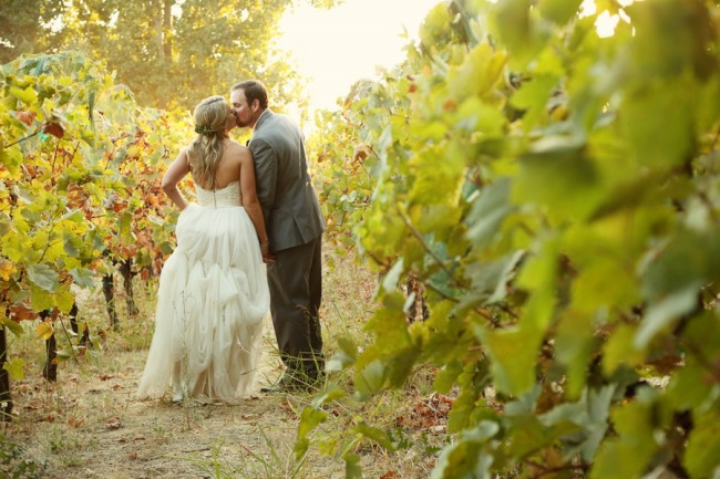 newlyweds stroll among vines