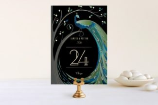nouveau peacock feathers and leaves table number
