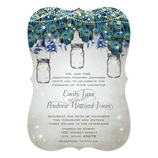 peacock and mason jar invitation