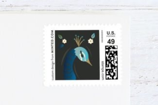 peacock design wedding stamp
