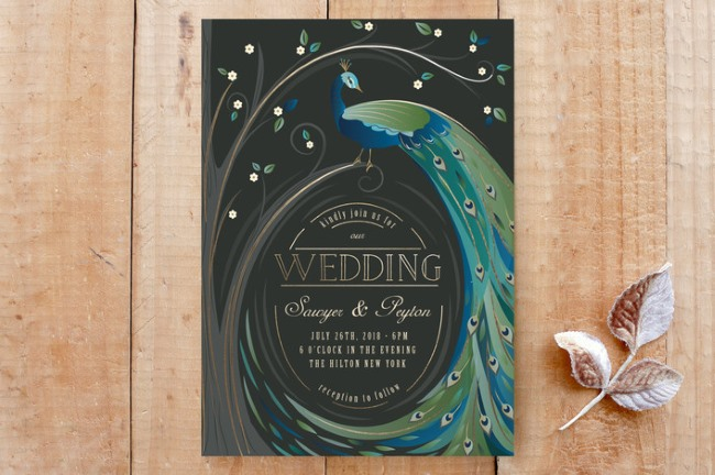 peacock swirl feathers invite