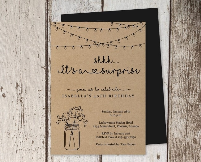 rustic mason jar with string lights invite PDF