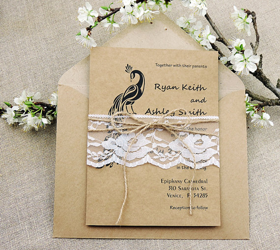 rustic peacock and jute invite