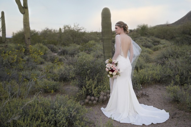 styled bride in desert with cacti background