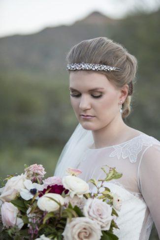 styled bride wearing crystal headband