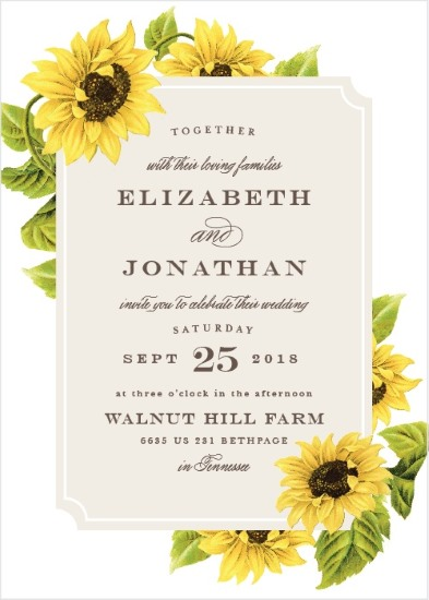 sunflower framed invitation
