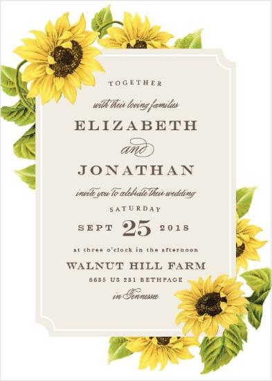 5 sunflower wedding invitations to brighten your day sunflower framed invitation junglespirit Gallery