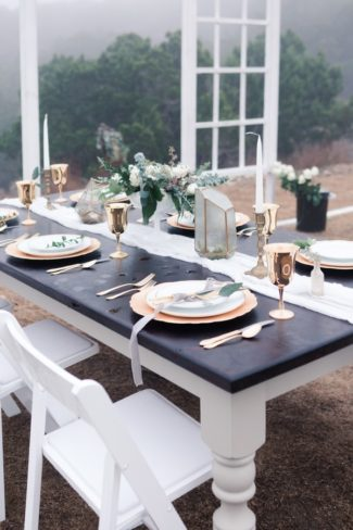 table scape outdoors with fog