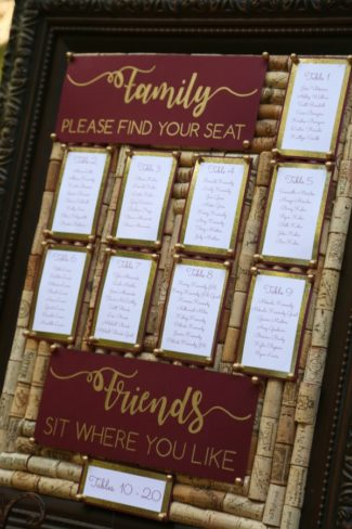 table seating sign made from corks