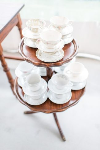 tea cups on small stand