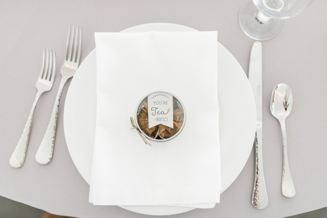 tea favor on white place setting
