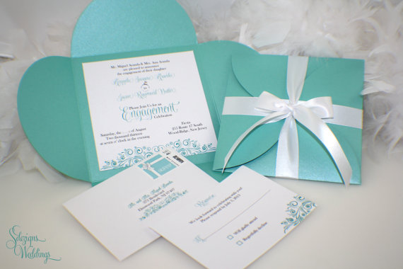 Tiffany Blue Gift Wrap Bow Invite
