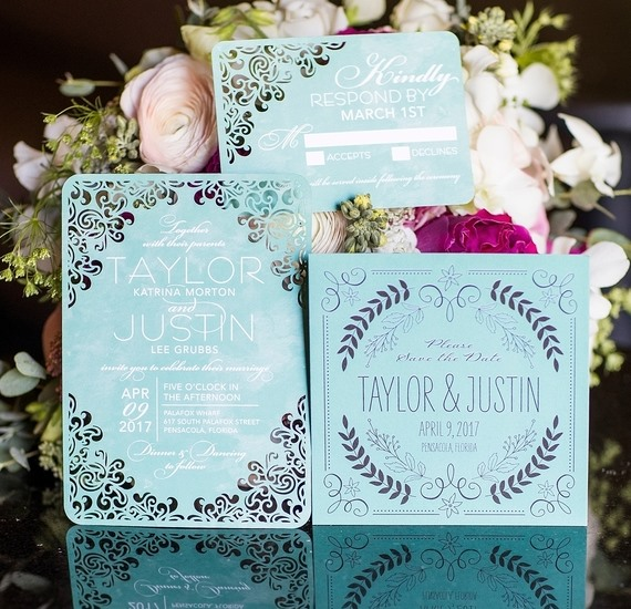 tiffany blue laser cut stationery suite
