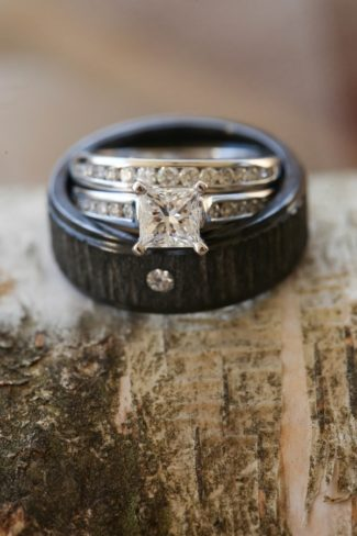 unique mans band and diamond womans ring