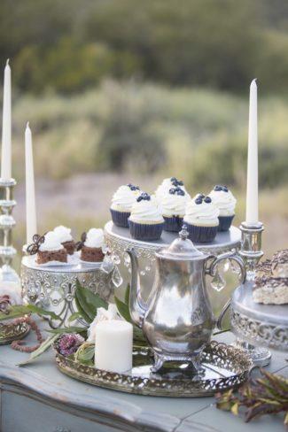 vintage cake stands and tea serving set