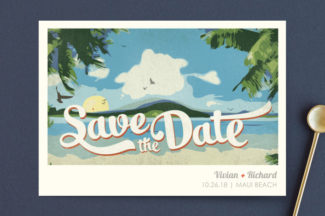 vintage travel themed save the date